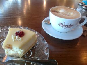 Cheese Cake with White Chocolate and a Big Cappucino