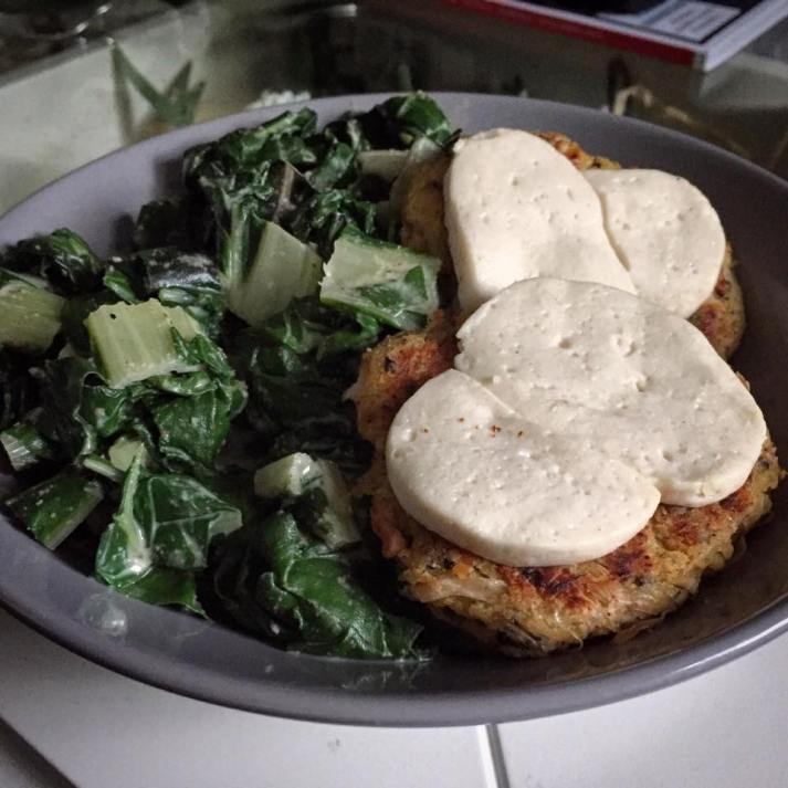 Cashew and almond creamed chard with fishless cakes and vegan mozzarella