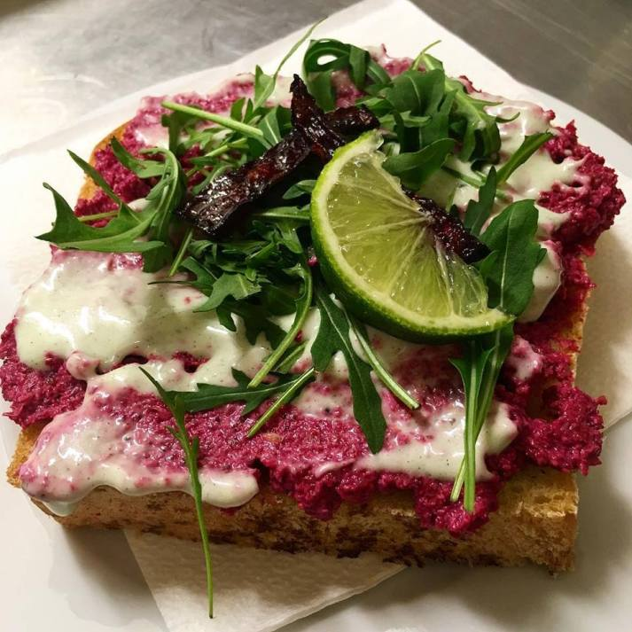Beet root and sunflower seeds spread with wasabi sandwich