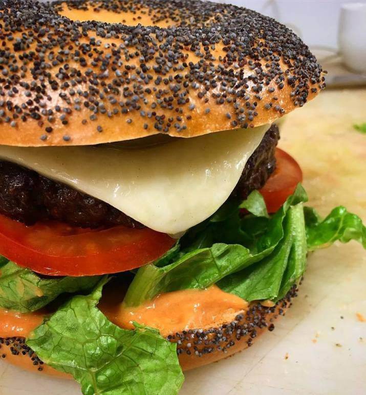 Seitan bagel with cheese and veggies. Yummy at Momenty