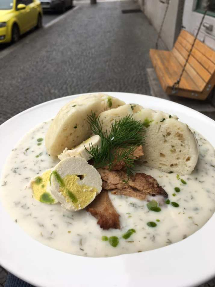 soya meat with dill sauce and homemade dumplings. Moment